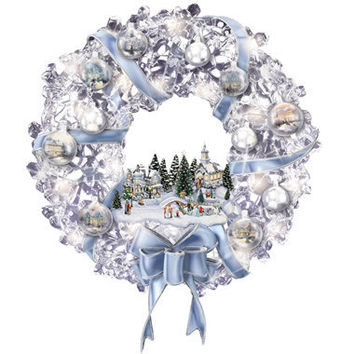 The Thomas Kinkade Glistening Wreath - Hammacher Schlemmer