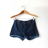 Vintage cut off denim shorts. Dark wash jean shorts. Thin denim shorts