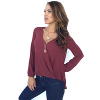 Always On The Run Blouse In Wine