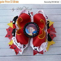ON SALE Jessie  Bow - Toy Story Jessie  Birthday - Over the Top Bow - Toy Story Jessie party - Girls Hair Bows