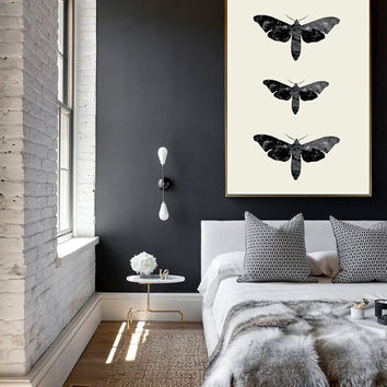 Moth Print, Vintage Art, Wall Decor, Moth Art, Illustration, Cabin Decor, Minimal Wall Art.