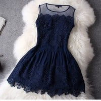 Beauty Hook Flower Hollow Out With Lace Skirt Dress