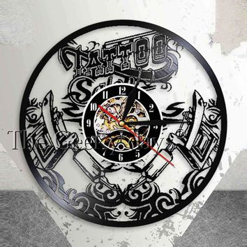 Tattoo Studio Wall Sign Tattoo Salon Vinyl Record Wall Clcok Tattoo Shop Tattoo Machine Wall Art Decor Hipster Men Gift Idea