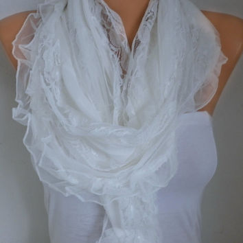 White Lace Scarf  Shawl Scarf Bridal Accessories  Bridesmaid Gifts Gift Ideas For Her Women Fashion Accessories best selling item