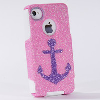 iPhone4 Otterbox Case iPhone 4 Case Glitter Orchid Anchor by 1WinR