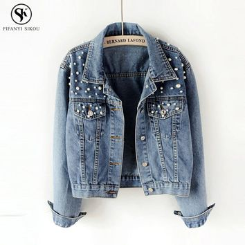 2018 Spring Basic Coat Women Denim Jacket Pearls Beading Kpop Jeans Coat Loose Casual Plus size Long Sleeve Jackets LGP46
