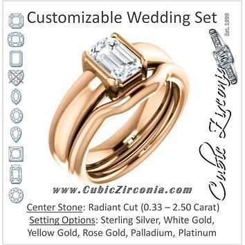 CZ Wedding Set, featuring The Charlotte engagement ring (Customizable Bezel-set Radiant Cut Solitaire with Thick Band)