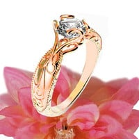 Solitaire Ring Unique Claw Design Engraved Engagement Ring 14K or 18K Rose Gold