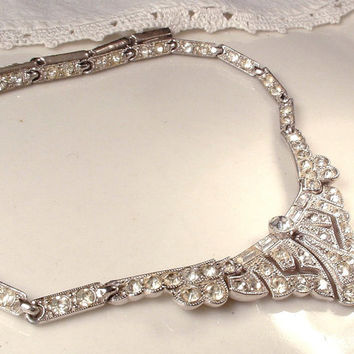 Art Deco Necklace, 1920s Pave Clear Rhinestone Flapper Necklace, Silver Statement Link Drop Pendant, Gatsby Jewelry, Downton Abbey Bridal