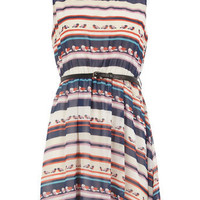 Blue stripe and bird belted dress - View All  - Dresses