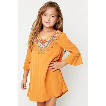 Hayden 2017 Fall Tribal Embroidered Camel Tunic Dress