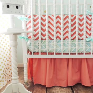 Chevron Baby Bedding | Aqua, Coral Crib Bedding