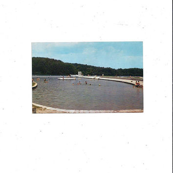 1960s Vintage Color Photo Postcard of Big Ridge State Part Beach Scene, Norris Lake, Tennessee, Posted with 4 Cent Stamp, Vintage Ephemera