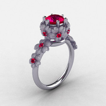 14K White Gold Ruby Flower Wedding Ring, Engagement Ring NN109S-14KWGRR