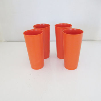 Set of 4 16oz Vintage Tupperware Cups Orange Retro Tumblers Glasses Retro Orange Tupperware Glasses Retro Cups Vintage Cups