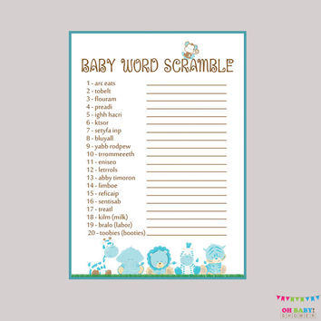 Baby Word Scramble Game - Safari Baby Shower Boy Printable Instant Download - Blue Boy Safari Word Scramble Baby Shower Blue Boy - BS0001-B