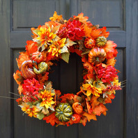 Thanksgiving Harvest Floral Wreath with Leaves for Fall