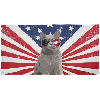 4th Of July Meowica America Patriot Cat All Over Beach Towel