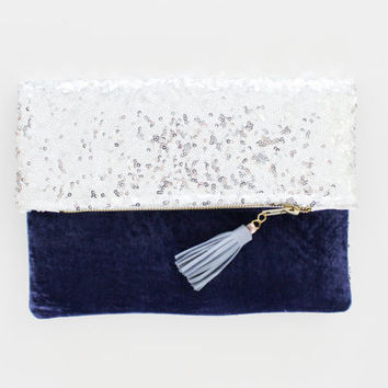 OPAL 5 / Silver sequin & Blue velvet folded clutch bag - Ready to Ship