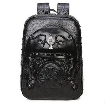 Men Punk Bul lDog Vegan Backpack
