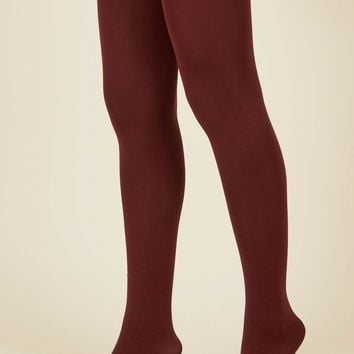 Accent Your Ensemble Tights in Merlot | Mod Retro Vintage Tights | ModCloth.com