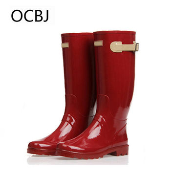 Women's Fashion Knee High Rain Boots Fresh Red Cool Motorcycle Rubber Rain Boots For Woman Women's Rain Water Shoes