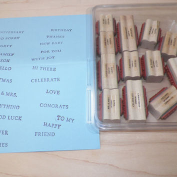 Stampin Up Fundamental Phrases Wood Block Stamp Set of 12