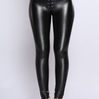 Janice Lace Up Pants - Black