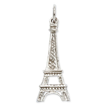14k White Gold Solid Polished Eiffel Tower Charm K854