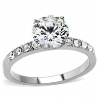 Claudia's Classic Stainless Steel Round CZ Engagement Ring