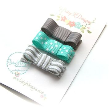Trio Of Clips - Soild, Polka Dot and Side Stitch Ribbon