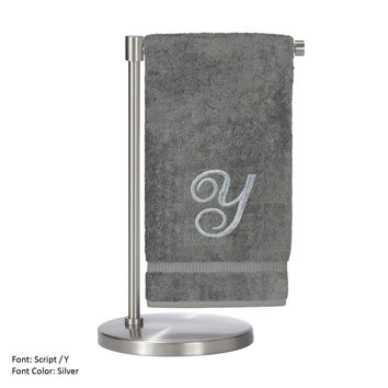 Monogrammed Bath Towel, Personalized Gift, 27 x 54 Inches - Set of 2 - Silver Script Embroidered Towel - 100% Turkish Cotton- Soft Terry Finish - For Bathroom,Kitchen or Spa - Script Y Gray