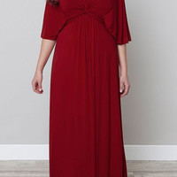 V Neck Flare Sleeve Maxi Dress