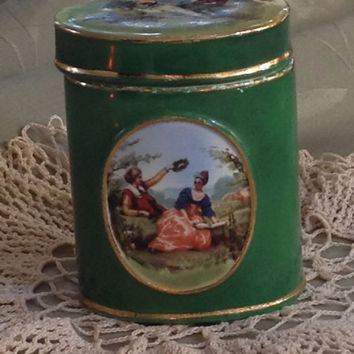 Germany 1930s Porcelain Container with Lid Signed Oval Forest Green