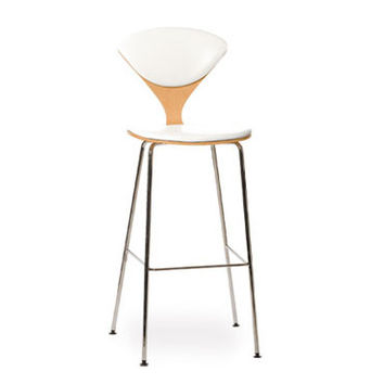 cherner metal leg stool - upholstered seat & back