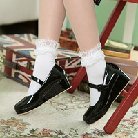Danganronpa Nanami Chiaki Anime Cosplay shoes Lolita Sweet Lady wedge Shoes Round Toe Buckle Women Party Pumps Plus Size 34-43