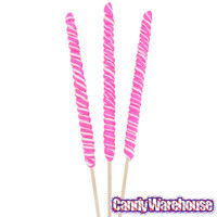 Pink and White 3-Ounce Twister Lollipops: 12-Piece Box | CandyWarehouse.com Online Candy Store