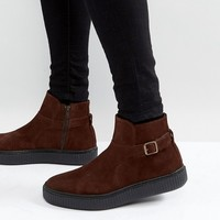 ASOS Chelsea Boots In Brown Suede With Black Creeper Sole at asos.com