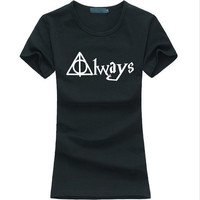 funny Always Hallows letter print Harry Potter Women tshirt hipster Casual Tee shirt Femme harajuku fashion brand punk tops