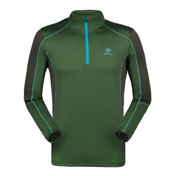 Long Sleeve Stand Collar 1/4 Zip Pullover Tshirt Fitness Outdoors Casual T Shirt Men Quick Dry Camisetas Anti-uv Man T-shirt