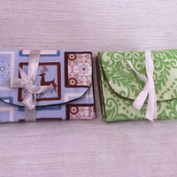 Frosty Blue Snowflakes and Reindeer or Green Holly Damask Gift Card Holder Case Set of Two Your Choice of color