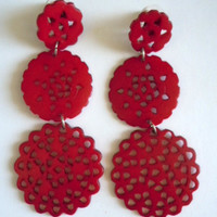 Darling Doily Earrings- Red