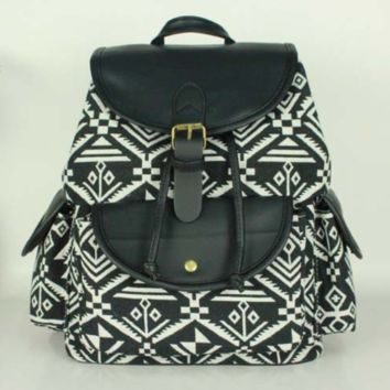 Black Aztec Geometry Travel Bag Canvas Lightweight College Backpack