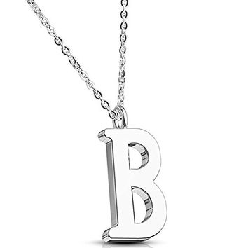 BodyJ4You Necklace Letter B Initial Alphabet Charm B Stainless Steel Chain