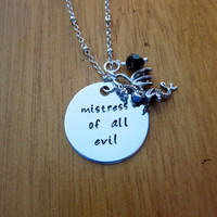 """Disney's """"Sleeping Beauty"""" Inspired Necklace. Villain Maleficent """"Mistress of all evil"""". Silver colored. Swarovski crystal."""