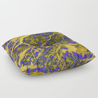 Colourful blue and yellow trees Floor Pillow by steveball