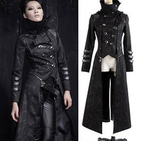 New Arrival!!PUNK HARD KING Cosplay Gothic MILITARY JACKET BLACK BLAZER S-XL