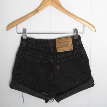 Vtg Levi's High Waisted Cut Off Denim Shorts Jean Black Orange Tab Cuffed 23""