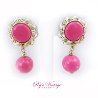 Vintage Hot Pink Dangle Earrings, Clip On Pink Dangle Ball Earrings