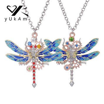 YUKAM Antique Steampunk Gears Animal Insect Big Dragonfly Pendant Necklace Crystals Vintage Jewelry Enamel Necklaces for Women
